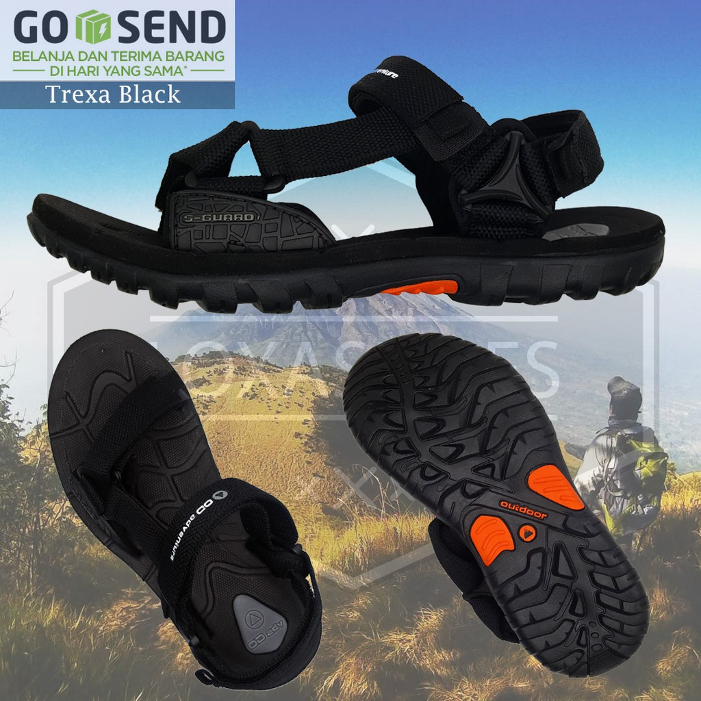 Sandal Gunung Outdoor Original Pria Hiking Catenzo Full Black Tracking Bisa Gosend Dari Bekasi Shopee Indonesia