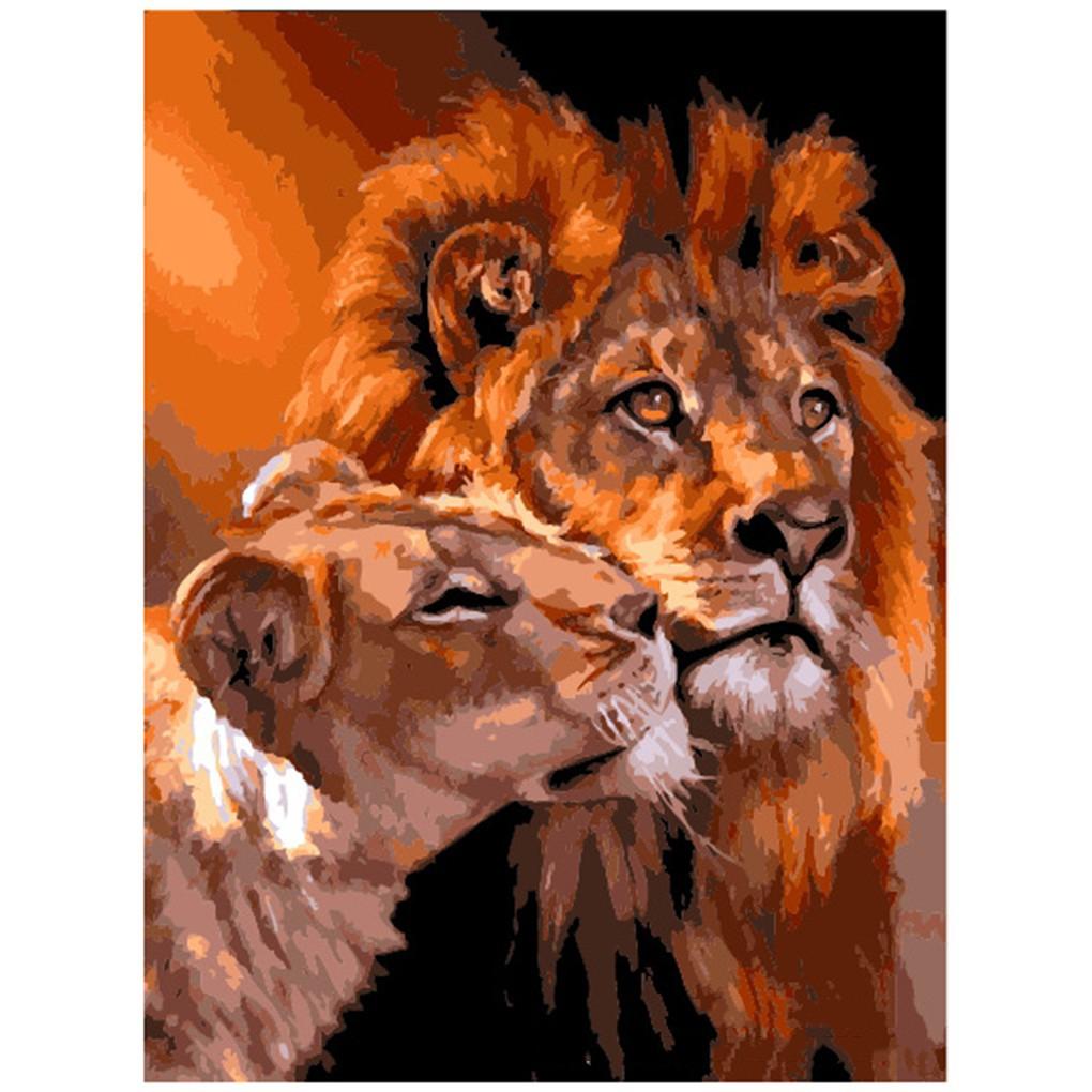DIY Lukisan Cat Minyak Dengan Bahan Linen Dan Gambar Pasangan Singa Untuk Dekorasi Rumah