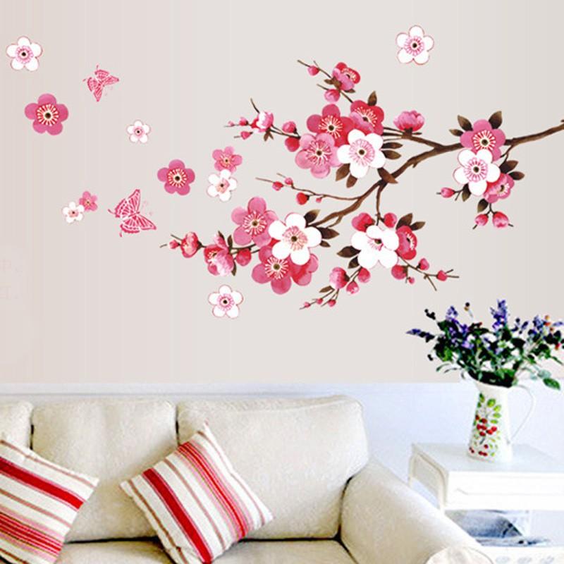 Fo Fashion Flowers Stiker Dinding Gambar Bunga Sakura Anti Air Shopee Indonesia