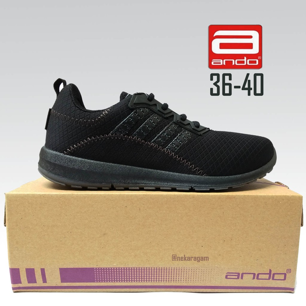 Sepatu Sekolah Perempuan Ando Plano Hitam Sepatu Smp Sma Shopee