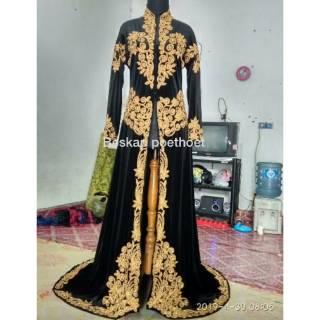 Set Baju Pengantin Adat Jawa Bludru Hitam Emas Muslim Muslimah