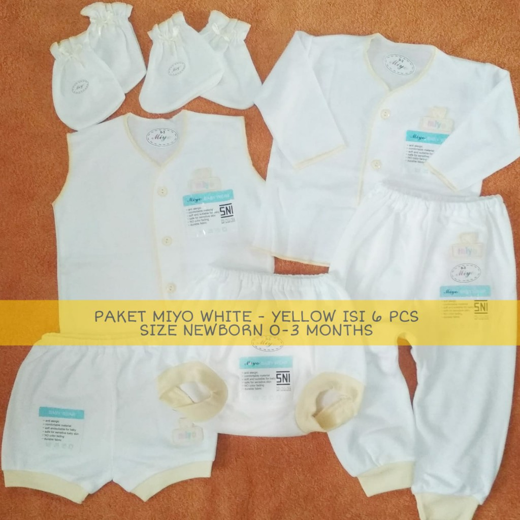 Baju Miyo Baby Wear Paket White Size Newborn 0 3m Isi 6 Pcs Celana Pendek Motif 3 Shopee Indonesia