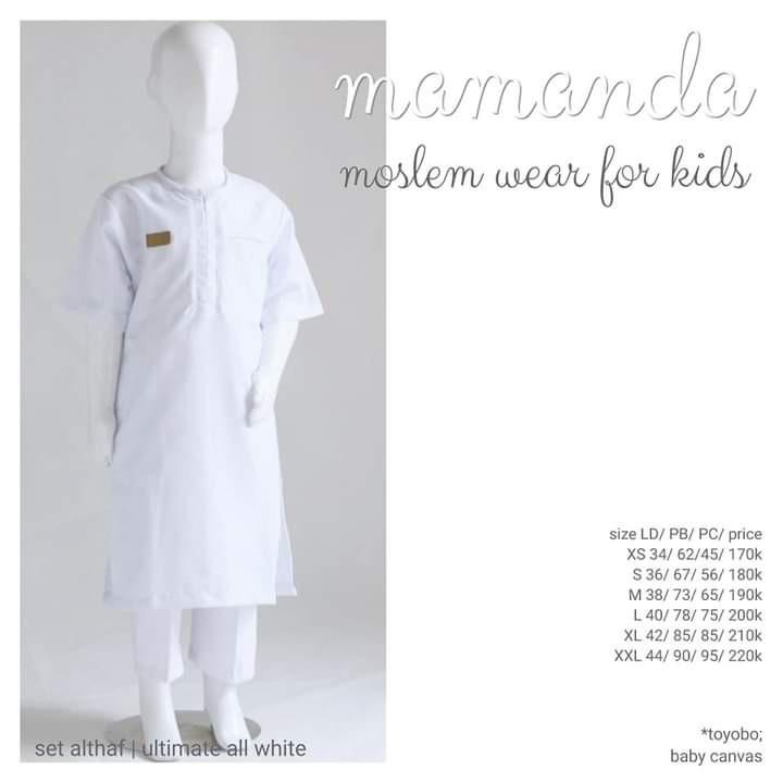 Kurta Anak All White set Celana Althaf Ultimate Series by Mamanda