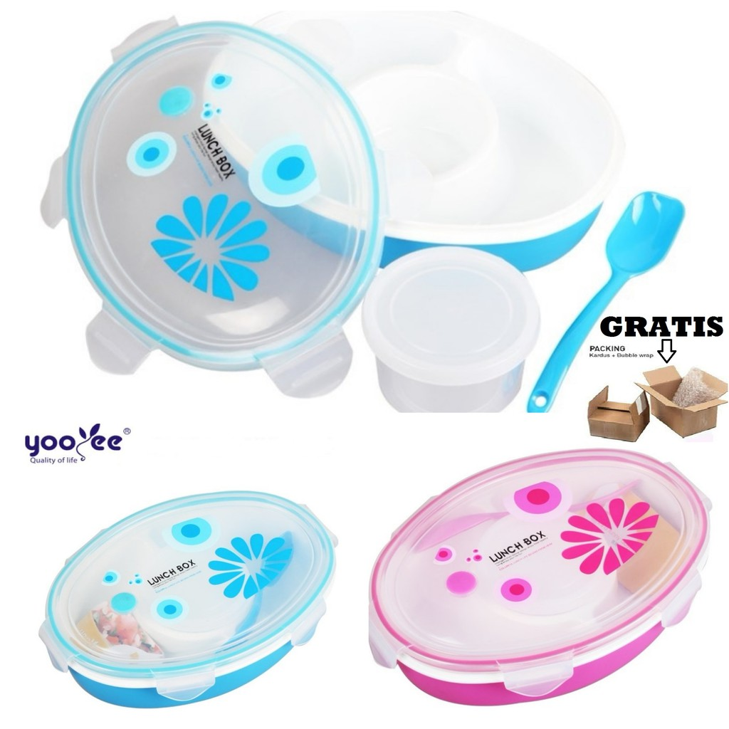 Yooyee 407 Apple Lunch Box Shopee Indonesia Kotak Makan 4 Sekat Sup Item 415