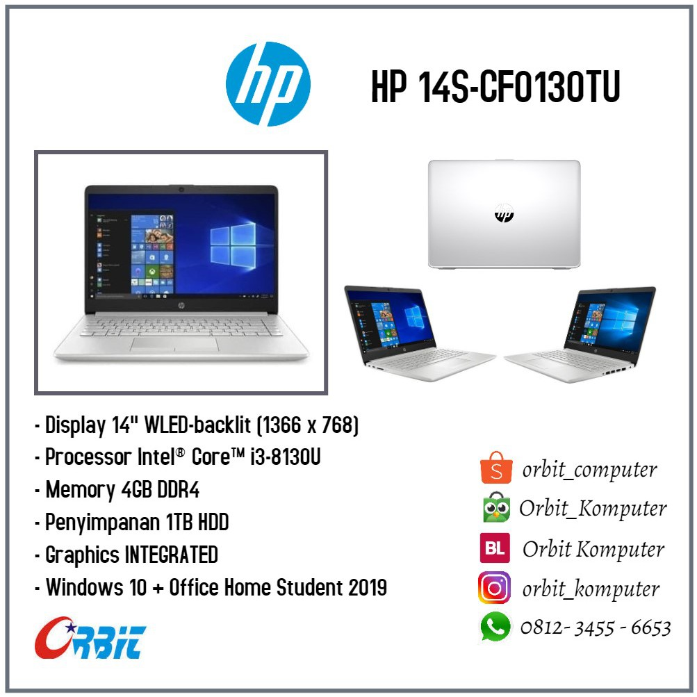 Hp 14s Cf0130tu Intel Core I3 8130u Ram 4gb Hdd 1tb Win 10 Shopee Indonesia