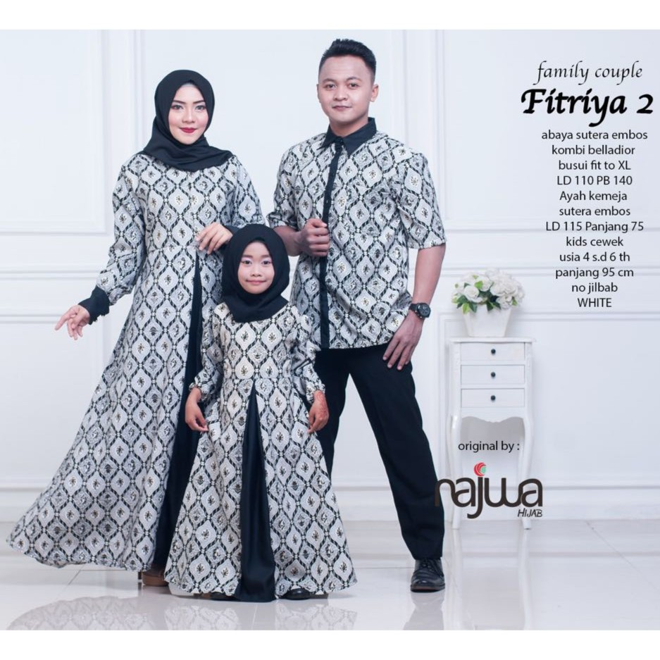 FITRIYA 12 FAMILY COUPLE / AYAH IBU ANAK / GAMIS COUPLE MUSLIM ORI NAJWA /  BATIK COUPLE KELUARGA