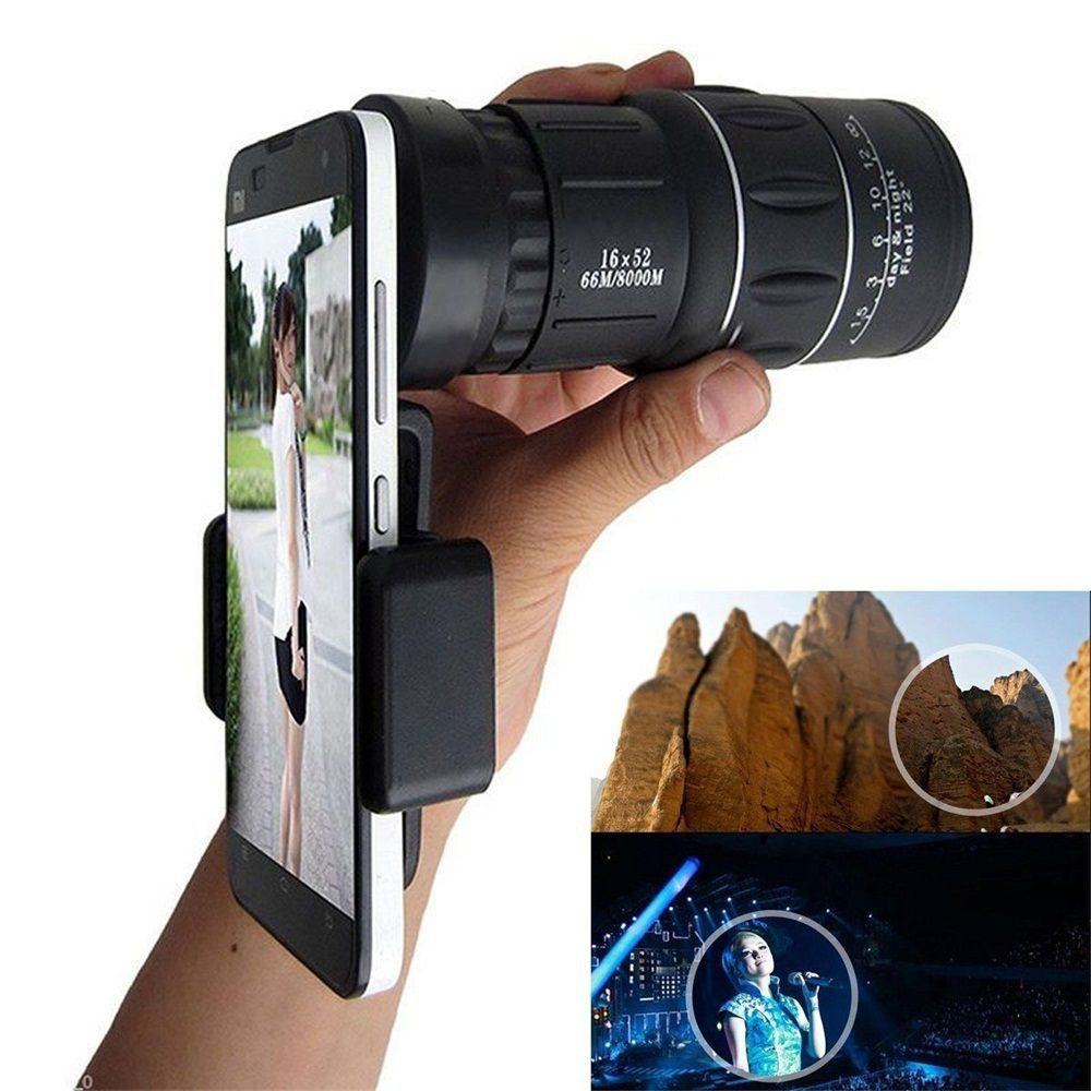 Teleskop Lensa Kamera HP Monocular HD Zoom 16X52 Warna Hitam Dengan Holder Smartphone | Shopee Indonesia