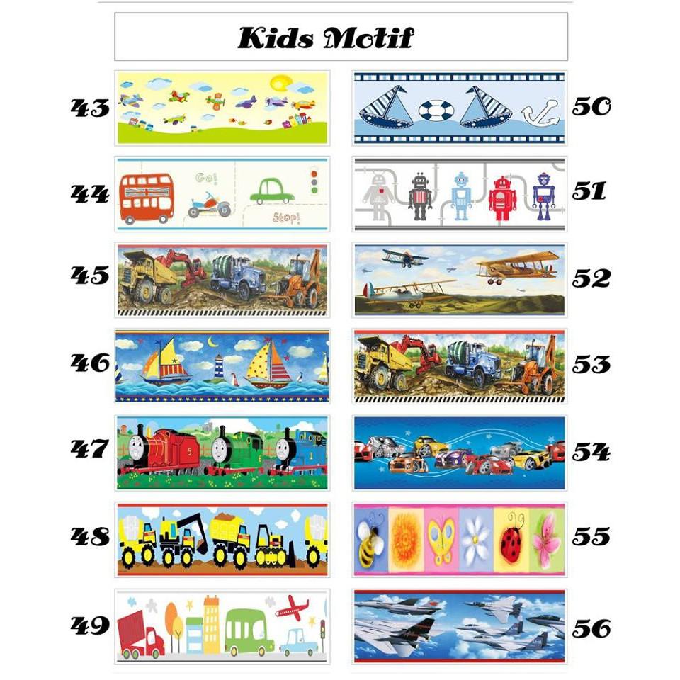 Wallborder Wallpaper Dinding Tembok Roll Thomas Bis Kupu Kupu Pesawat Perahu Robot Mobil 12mx10cm