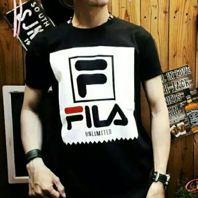 2b4e31c29579 NEW - Baju Kaos Atasan Oblong Pria Remaja Tshirt Distro Katun Tumblr Cowok  Premium FILA black