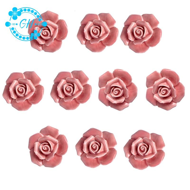 10pcs Gagang Pintu Laci Lemari Desain Bunga Mawar Vintage Bahan Keramik Sekrup Pink Shopee Indonesia