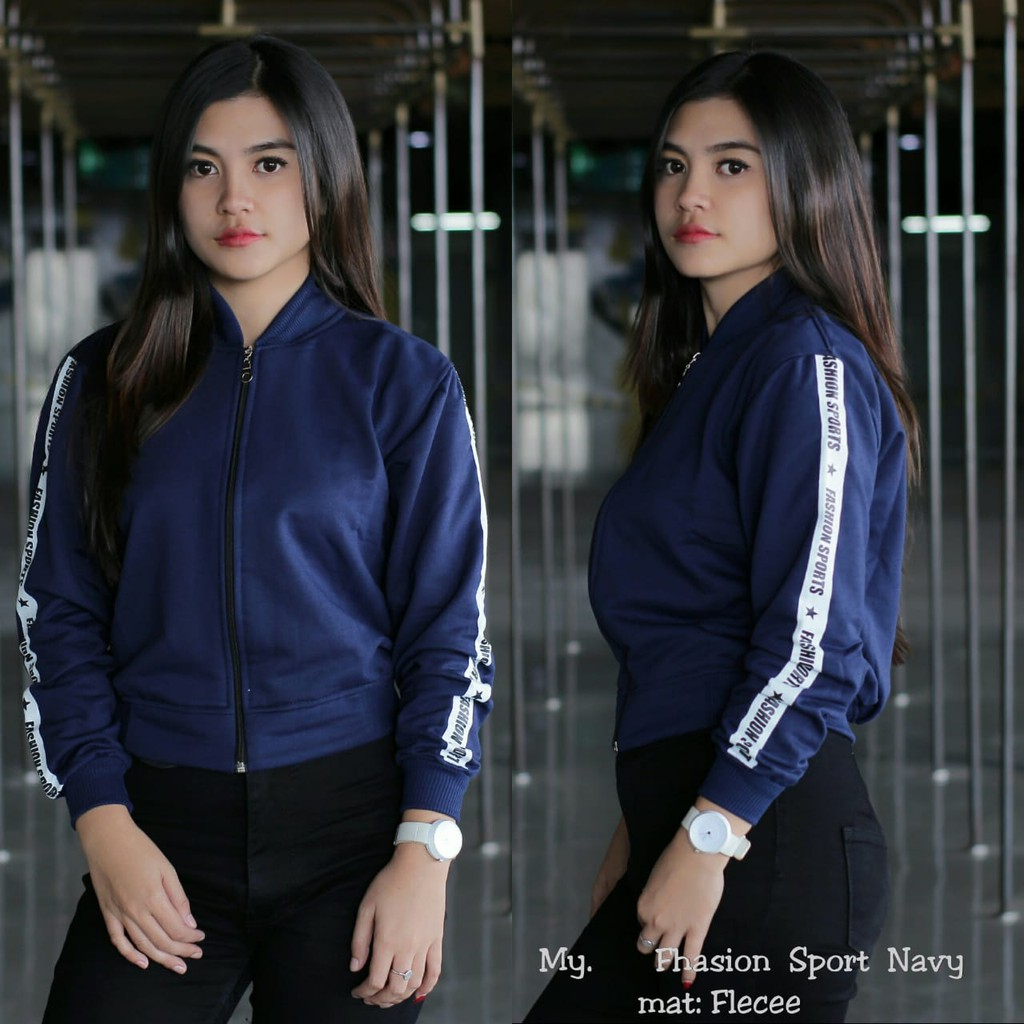 Jaket Parka Navy Wanita Shopee Indonesia Roundhand Secker Sweater Sj0015