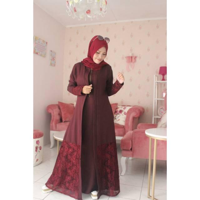 Gamis Dengan Outer Brokat Jilbab Gucci