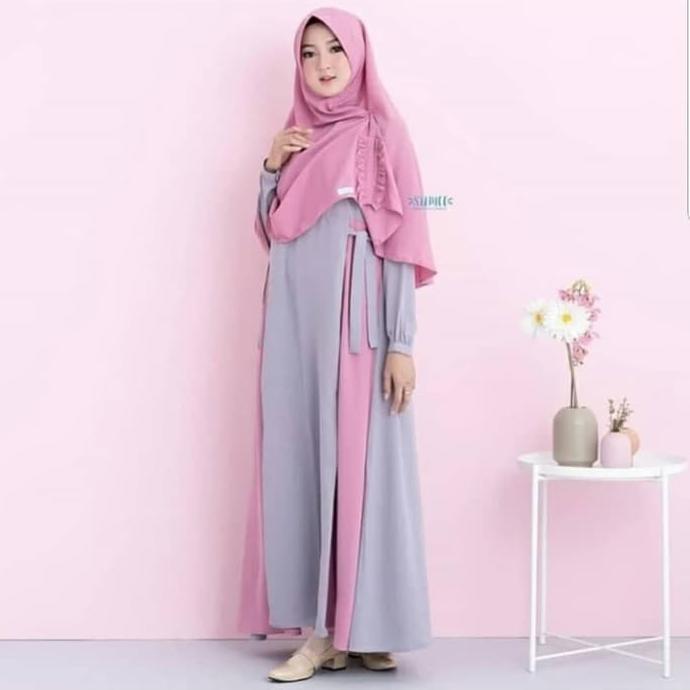 Gamis Gaul 2020 Baju Gamis Muslim Wanita Elois Syari Khimar Aq001 Gamis Termurah Grey Ladangki Shopee Indonesia
