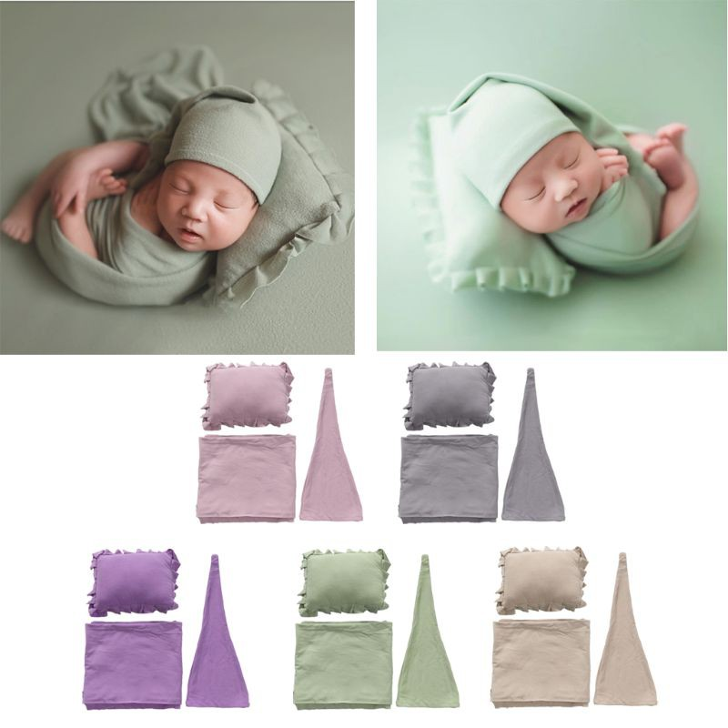 Wrap Blanket Newborn Photo Outfit 3pcs//Set Baby Photography Props Hat Pillow