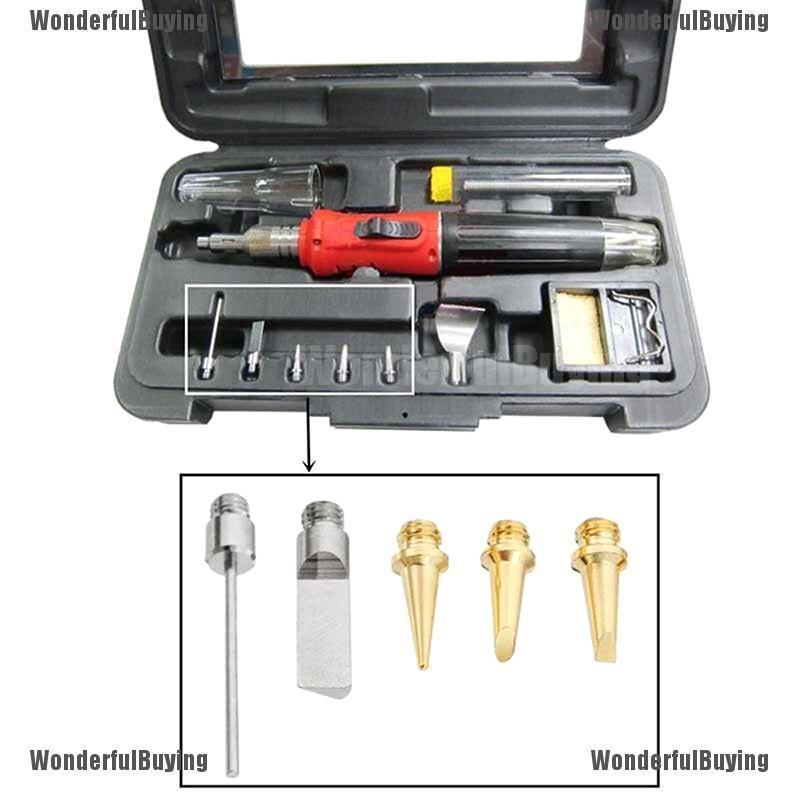 Ximimark 5Pcs//Set HS-1115K 10in1 Butane Gas Soldering Iron Kit Nozzle Welding Tools Gas Welding Tips Torch Pen Tools