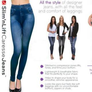 Slim N Lift Caresse Jeans Skinny High Waist Leggings Shapewear Slimming Waist Control Trousers