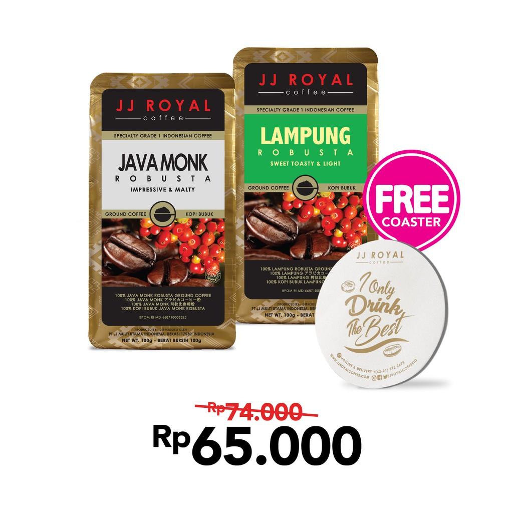 Bundling JJ Royal Coffee Aceh Gayo Arabica Ground bag 100gr & Kopi Tubruk Caramel Latte Bulk
