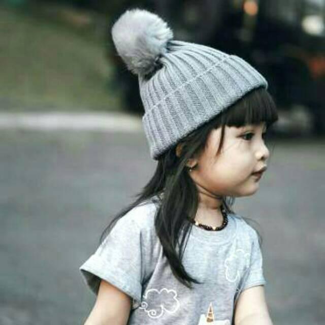 Topi Kupluk Rajut Import Hiasan Pompom Bayi dan Anak Beanie Hat ... 460f138dfe