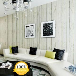 wallpaper dinding murah ruang tamu kamar motif kayu cream