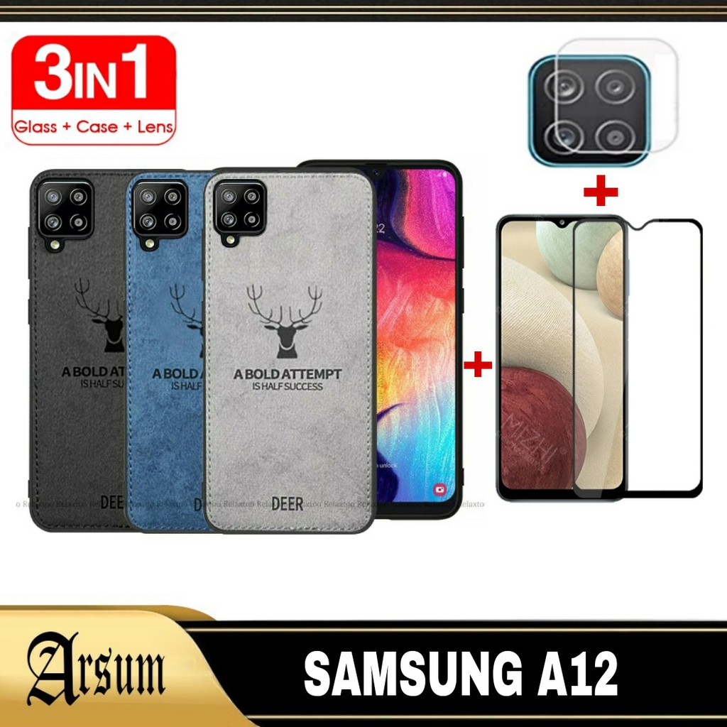 3IN1 DEER Case Samsung A12 / 2IN1 Softcase SAMSUNG A12 / Casing Samsung A12 + Tempered Glass