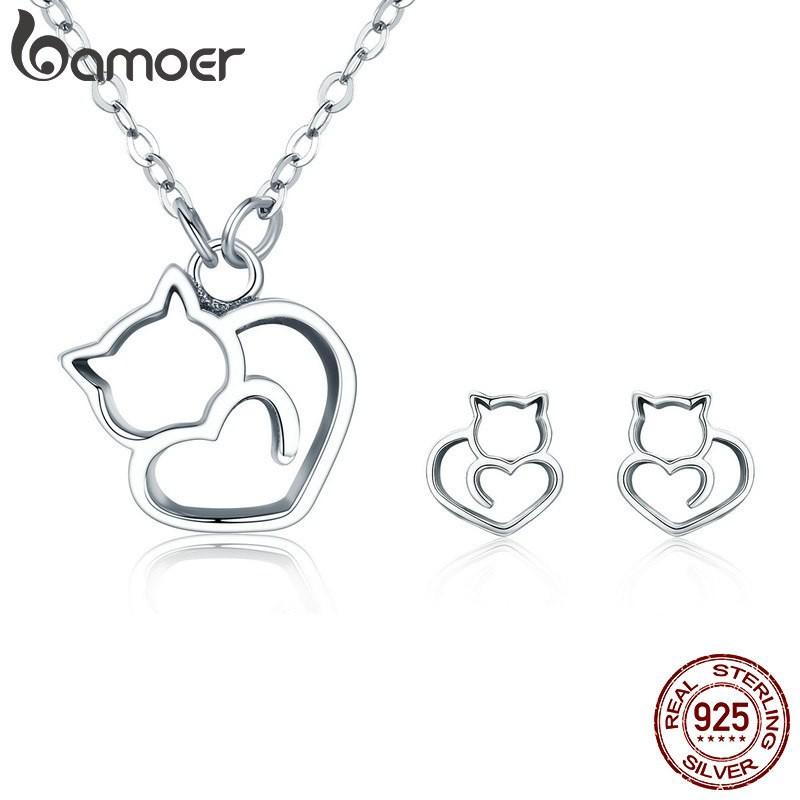 Bamoer 100% 925 Sterling Perak Lucu Pussy Kucing Wanita Perhiasan Set Kalung Anting-Anting Set   Shopee Indonesia