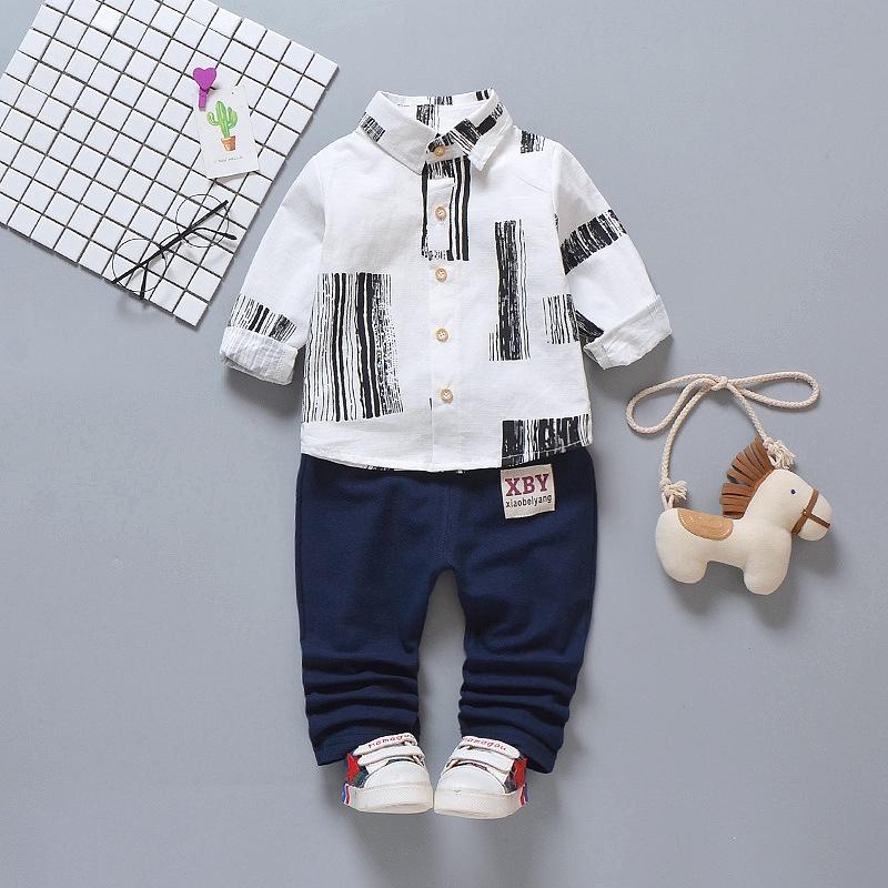 Setelan Kaos T-Shirt Katun Korea Anak Laki-laki Lengan Panjang + Celana untuk