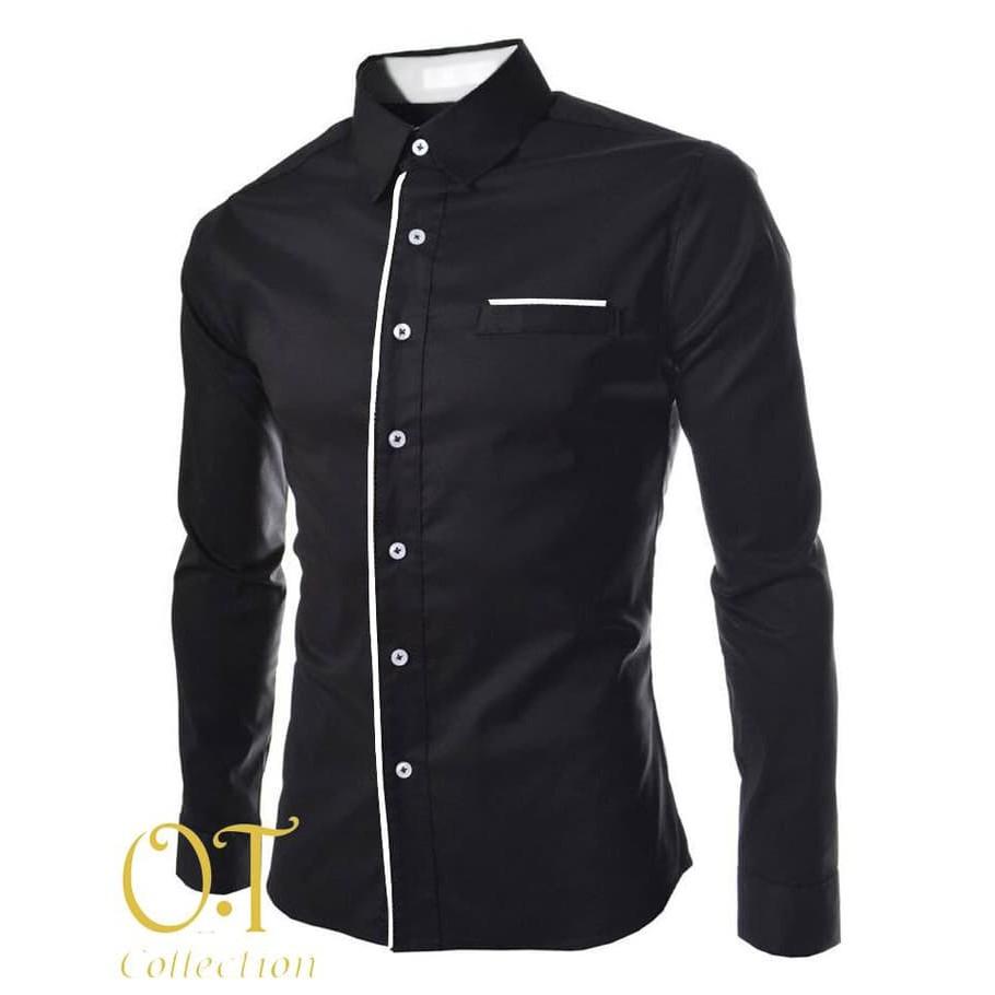 PROMO [Hem peter black xl OT] pakaian pria kemeja slim fit BEST SELLER