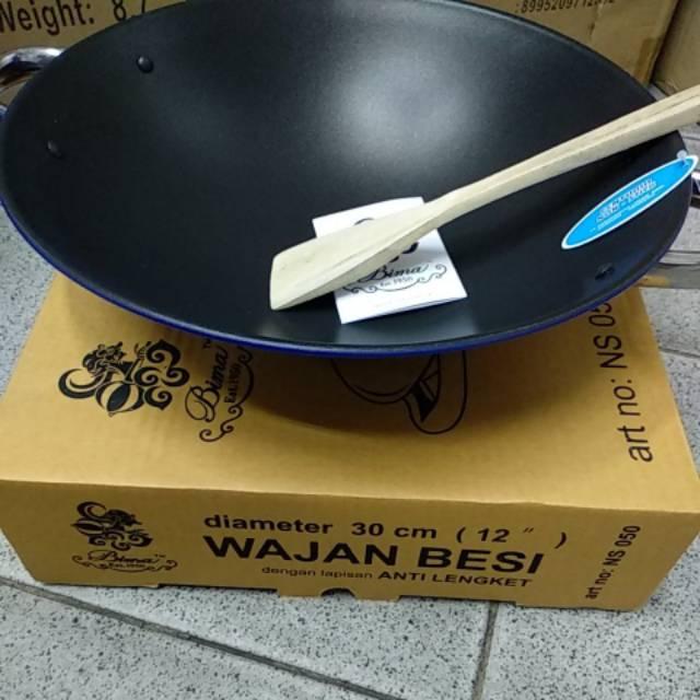 HAN Wok/Wajan/Kuali Besi Baja dengan gagang kayu 38 CM MBG38 - Perak | Shopee Indonesia