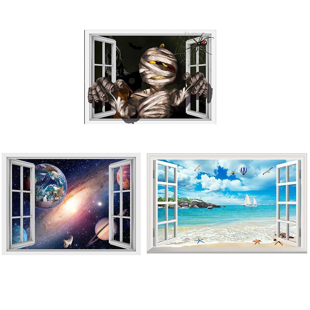 Stiker Dinding Dengan Bahan PVC Tahan Air Dan Gambar Pemandangan Pantai 3D