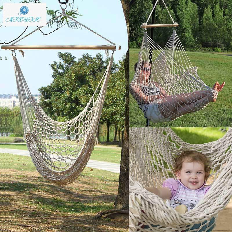 Outdoor Indoor Hammock Chair Hanging Swing Cotton Rope Net Cradles Kids Adults Swing Seat Chairs Shopee Indonesia