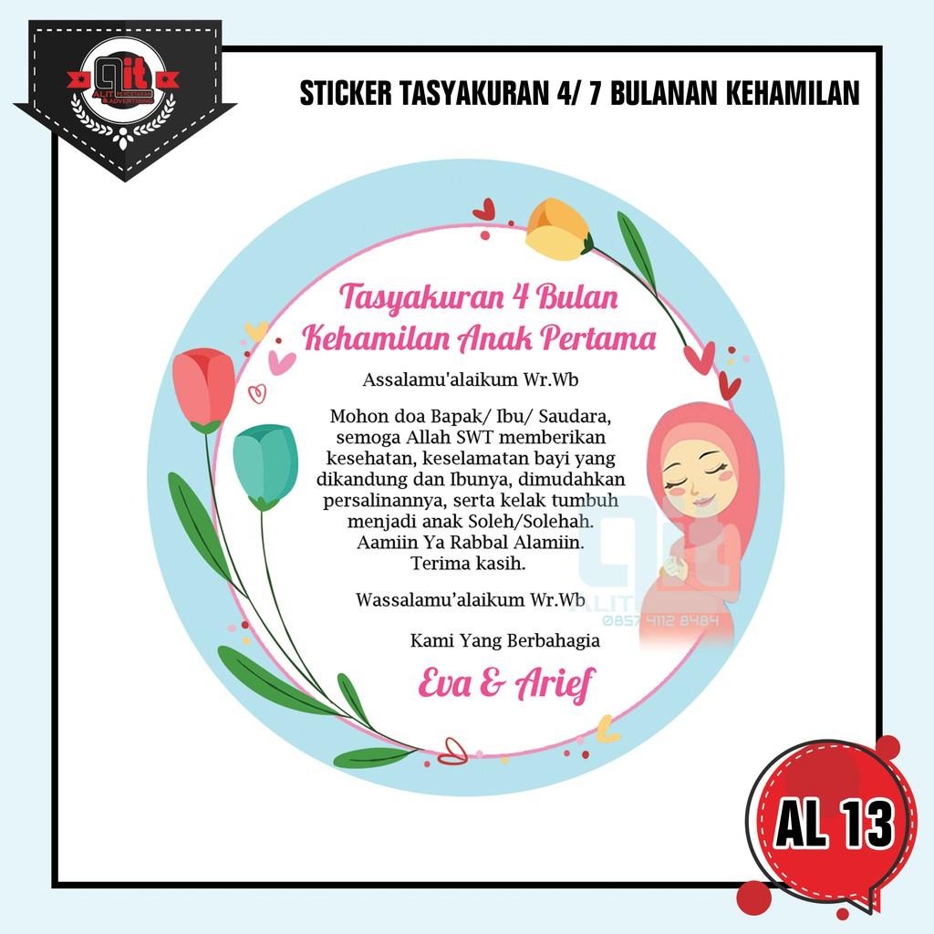 Sticker Tasyakuran 4 Bulanan Kehamilan Shopee Indonesia