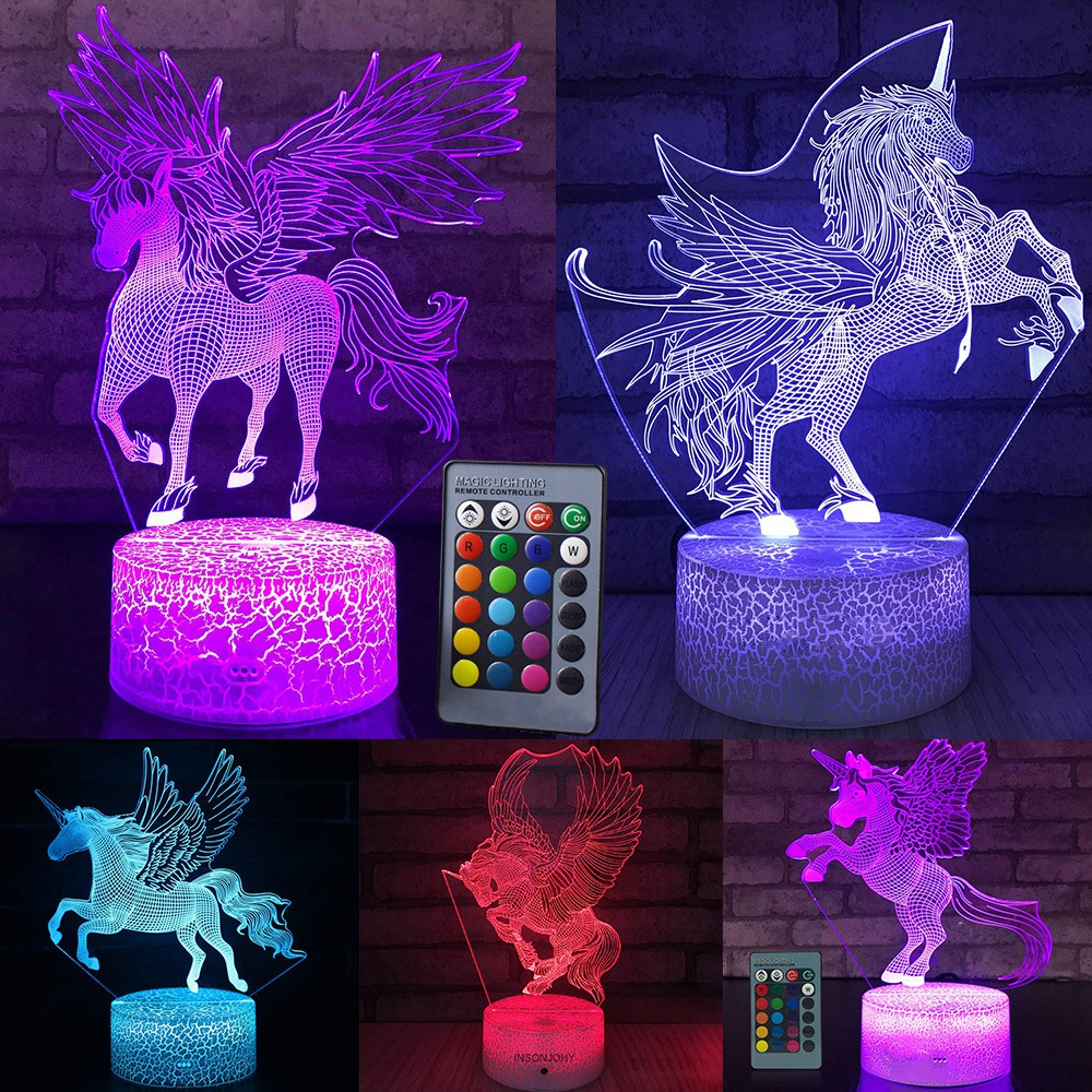 Lampu Led Bentuk Unicorn 3d Dengan Remote Control Untuk ...