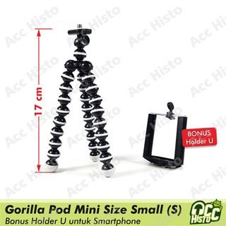 Mini Flexible Tripod Gorilla Pod Small (S) Octopus Gurita + Holder U For Smartphone