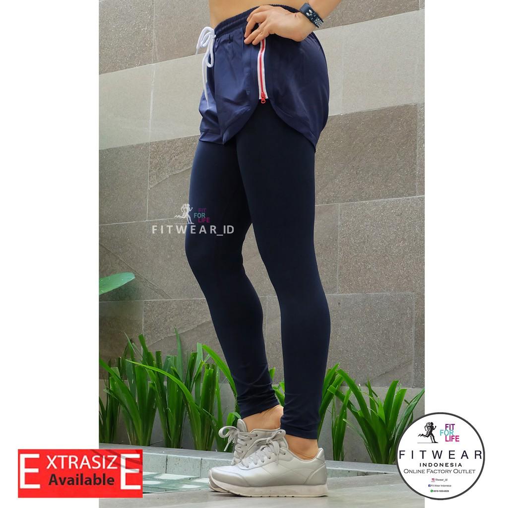Celana Lari Wanita Inner Legging Fitness Yoga Zumba Zipper Navy Shopee Indonesia