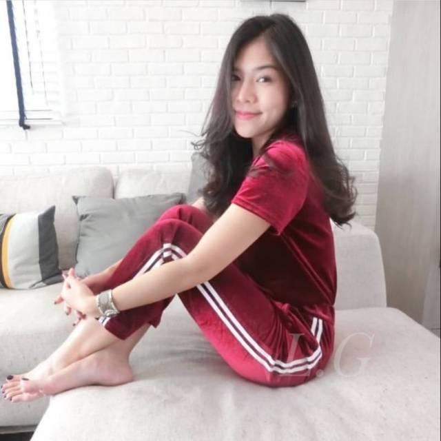 Celana Legging List Bludru Legging Velvet Celana Kekinian Celana List Putih Shopee Indonesia