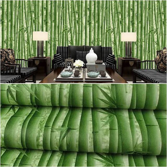 Promo Wallpaper Dinding Murah Bambu Hijau 3d Minimalis Best Seller Terlaris