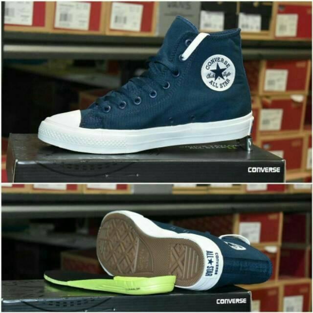 Sepatu Converse CHUCK TAYLOR II NAVY HIGH PREMIUM QUALITY  5a939b95bd