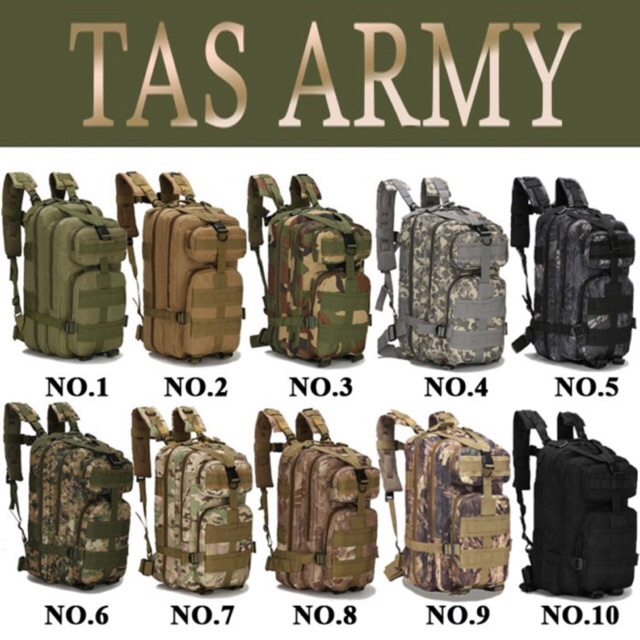Tas punggung pendidikan tni rangsel army tas korea  dc2193fa74