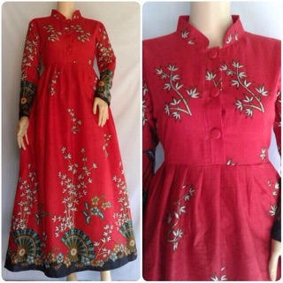 Gamis Batik Modern Baju Muslim Wanita Pakaian Shopee