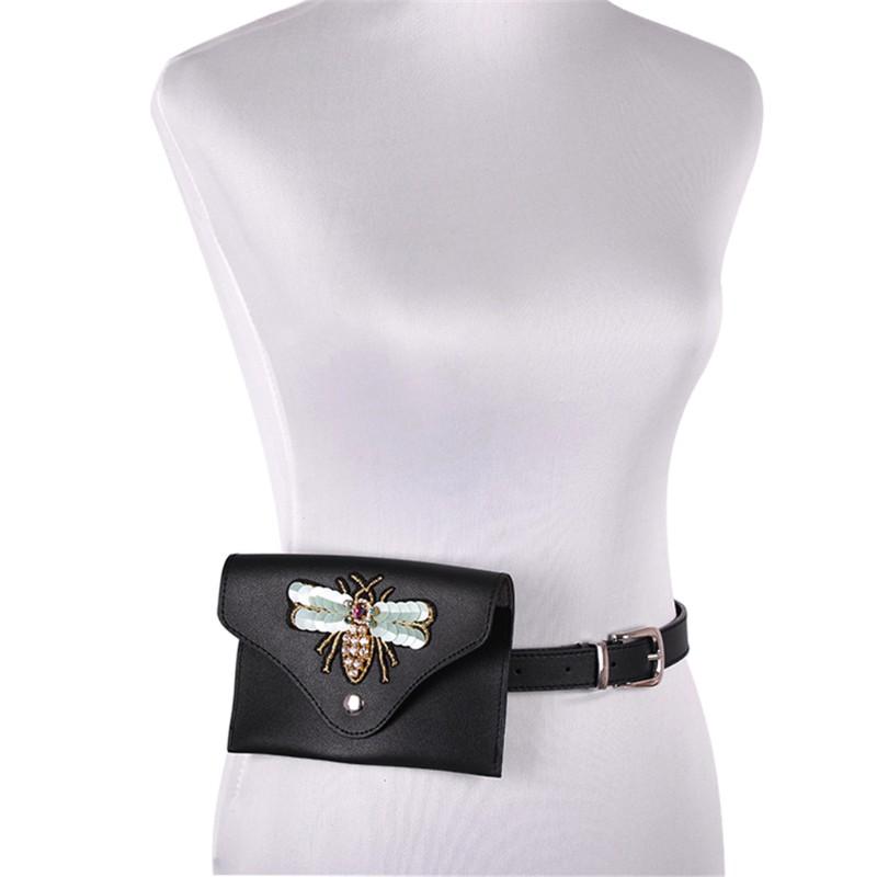 Fashion Embroidery Waist Fanny Pack Belt Bag Pouch Travel Hip Bum Women Purse