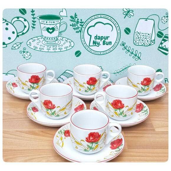 6 Pasang Cangkir Set motif bunga ROYAL ALFRED bone ceramic (6 cangkir+6 saucer) | Shopee Indonesia