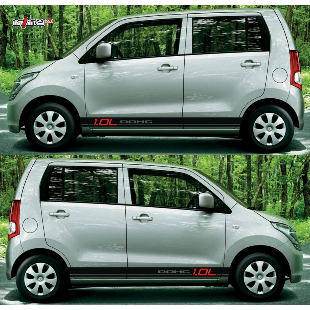 Stiker mobil cutting variasi striping keren suzuki karimun wagon r sticker body samping lcgc 3 shopee indonesia