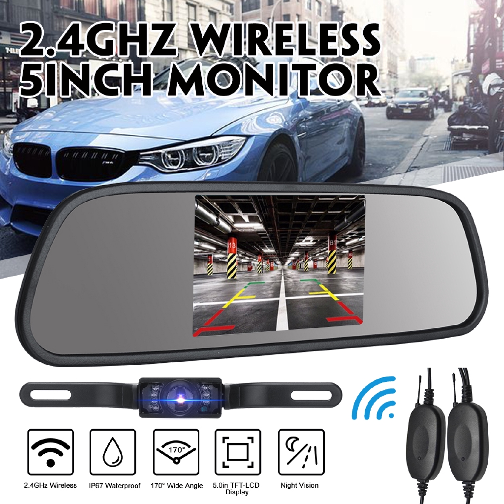 4.3 Inch Car LCD Backup Mirror Monitor /& 170° Wide Angle Waterproof View Camrea