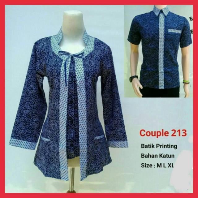 Abadi batik Baju couple kemeja hem batik seragam biru mocca  2f225c2cc2