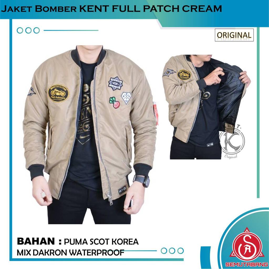 Jaket Bomber Pilot Pria Original Kent Full Patch Cream Shopee Cottonology Army Green Large Indonesia
