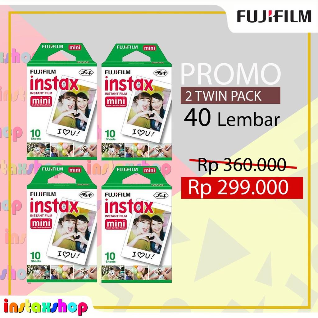 Fujifilm Matahari Foto Paket Hemat Refill Instax Mini Film Plain 40 Lembar Twinpack Free Masking Sticker