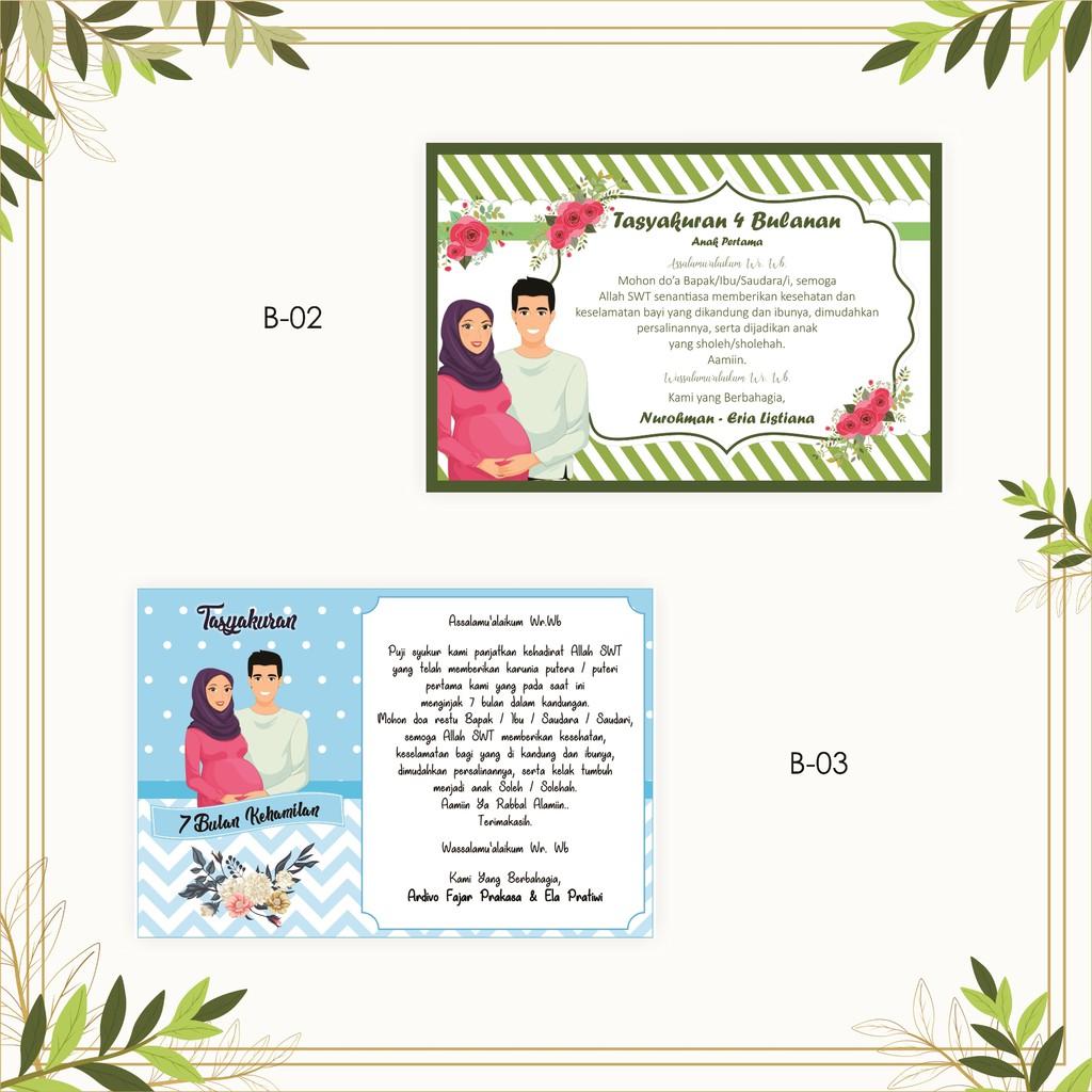 Kartu Ucapan Tasyakuran Kehamilan 4 Bulanan Free Desain Shopee Indonesia