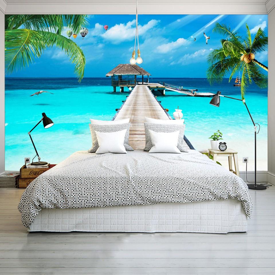 Kustom 3D Foto Wallpaper Balkon Pantai Pemandangan Laut 3D Ruang TV Latar Belakang Hiasan Dinding