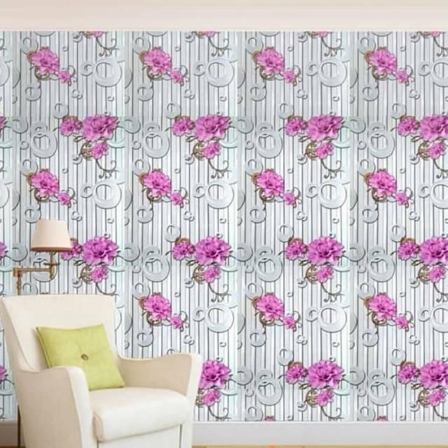 Baru Wallpaper Dinding Murah Dekor Kamar Ruang Tamu Garis Abu Abu Circle Bunga Pinx Cantik Elegan Shopee Indonesia