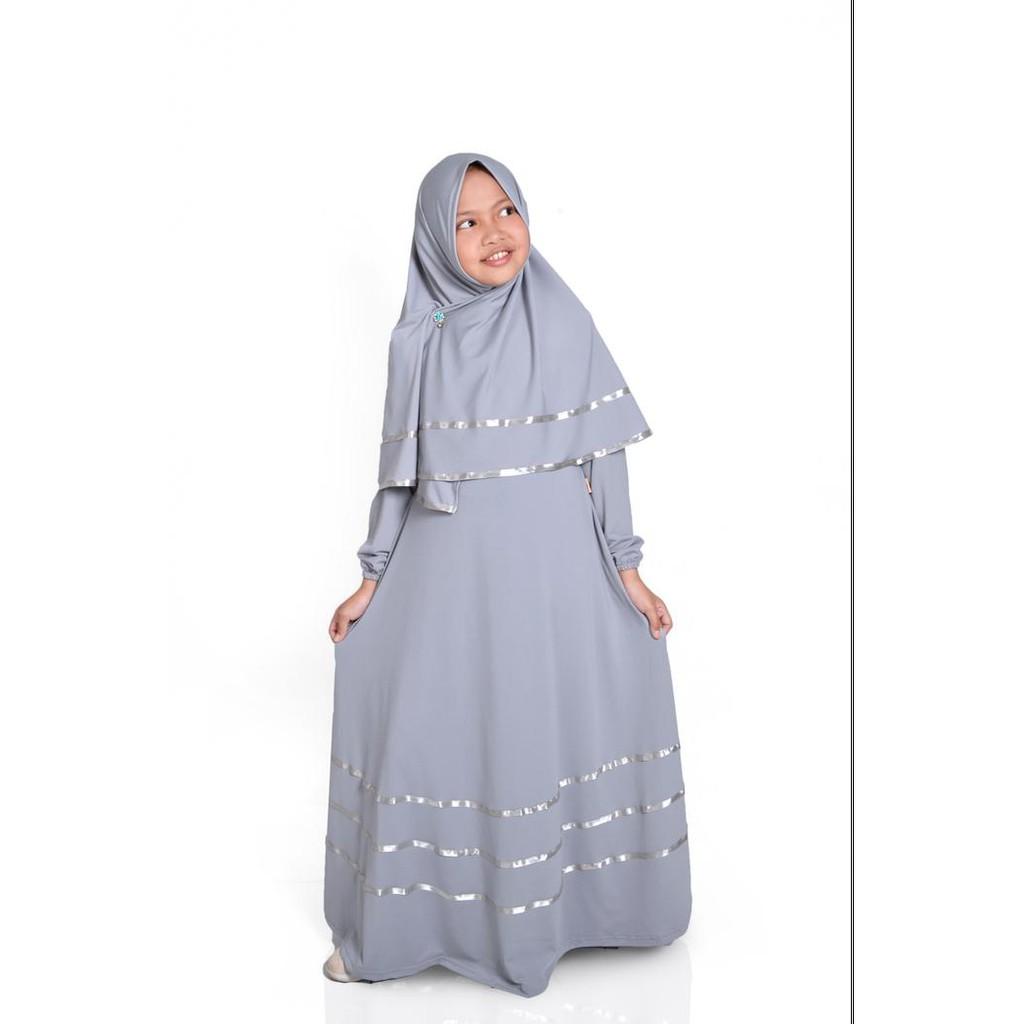 Baju Muslim gamis anak perempuan jersey warna abu - Abu-abu Muda, S